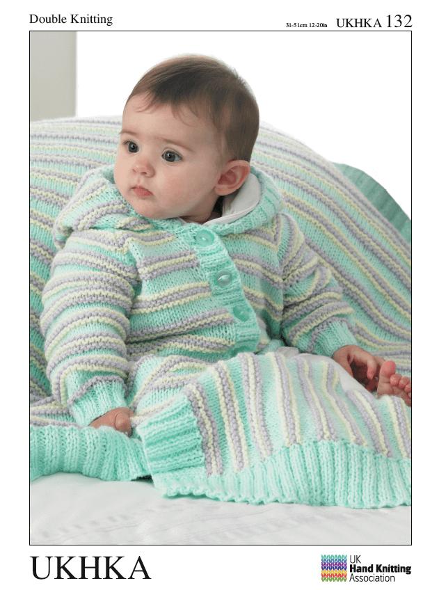 Baby Triple Stripe Cardigan Jacket Hat Blanket Set Knitting Pattern UKHKA132
