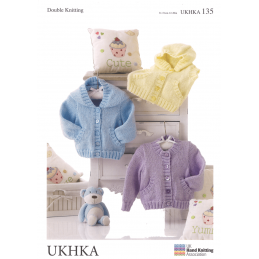 Baby Hooded Jackets and Waistcoat with Pockets Knitting Pattern UKHKA135