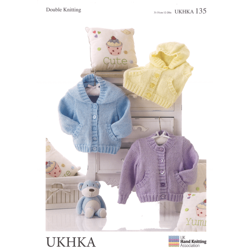 8d23cfbd68f3 Baby Hooded Jackets and Waistcoat with Pockets Knitting Pattern UKH...