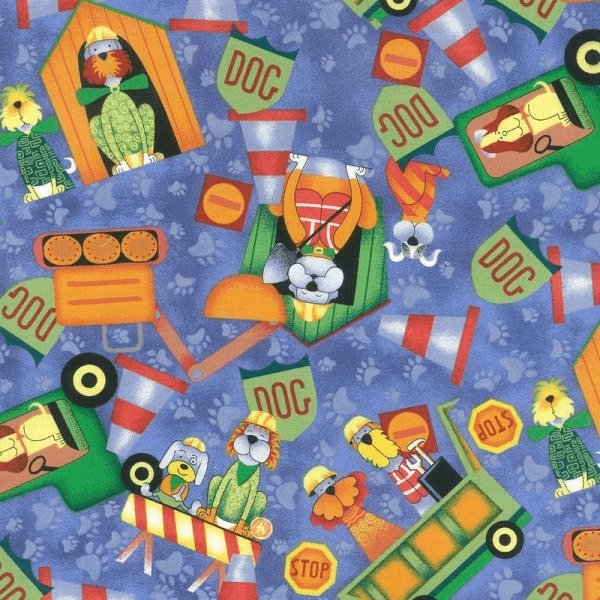 Construction Dogs Road Works Diggers Cones 100% Cotton Fabric