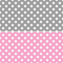 Whimsical Wheels Polka Dot Spots Grey or Pink 100% Cotton Fabric