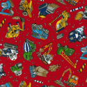 100% Cotton Patchwork Fabric Nutex Construction Site Diggers Trucks