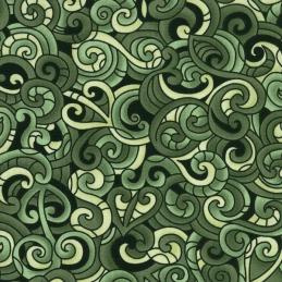 Green 100% Cotton Patchwork Fabric Nutex Kiwiana Moko Abstract Swirls Tattoo