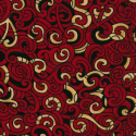 Red 100% Cotton Patchwork Fabric Nutex Kiwiana Moko Abstract Swirls Tattoo