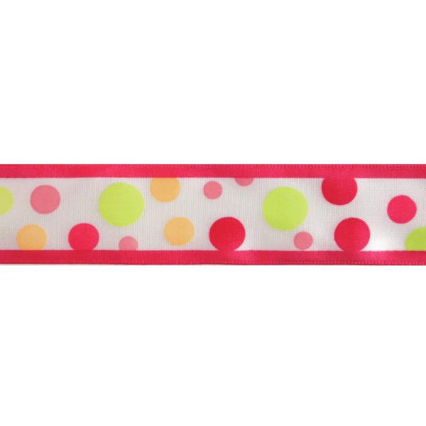 25mm x 3m Multi Colour Spots On White Ribbon Celebration
