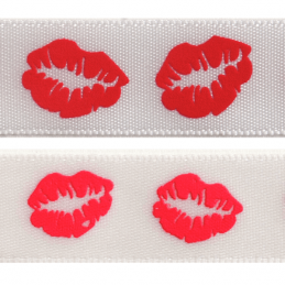 15mm x 3.5m Lips On White Ribbon Celebration