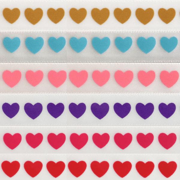 6mm x 4m Hearts On White Ribbon Multi Colour Celebration