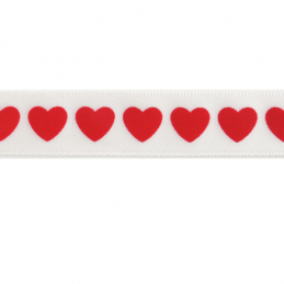 6mm x 4m Hearts On White Ribbon Multi Colour Celebration