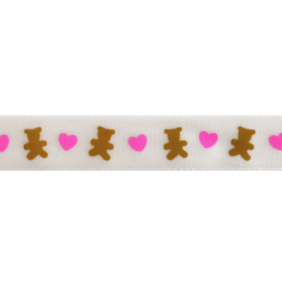 15mm x 3.5m Teddy Bears With Hearts Ribbon Multi Colour Celebration