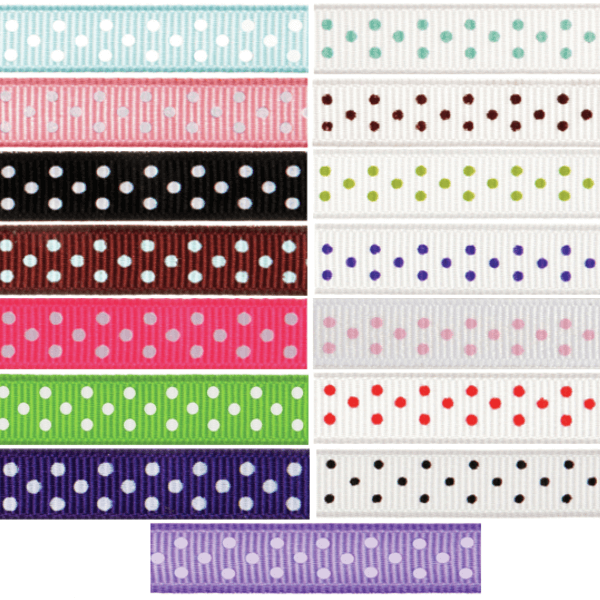 6mm x 5m Grosgrain Spots Ribbon Multi Colour Celebration