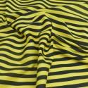 Yellow / Black Polycotton Fabric Stripe 12mm Candy Stripes