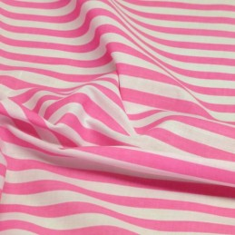 Pink Polycotton Fabric Stripe 12mm Candy Stripes