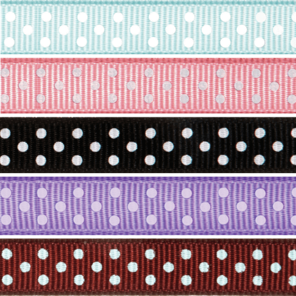 13mm x 5m Grosgrain Spots Ribbon Multi Colour Celebration