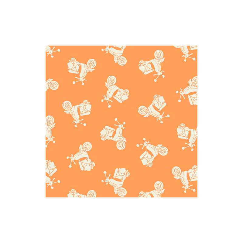 Vacation Tonal Scooters Blue Holidays 100% Patchwork Cotton Fabric (Makower)