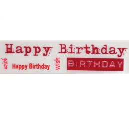 25mm x 3m Satin Happy Birthday Wish Ribbon Multi Colour Celebration