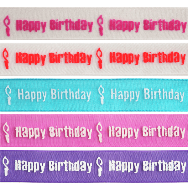 15mm x 3.5m Happy Birthday Candle Burning Ribbon Multi Colour Celebration