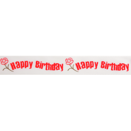 25mm x 3m Happy Birthday Rose Floral Flower Ribbon Multi Colour Celebration