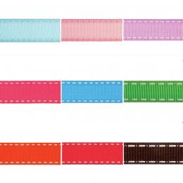 Grosgrain White Stitch Edge 6mm x 5m Ribbon Multi Colour Celebration