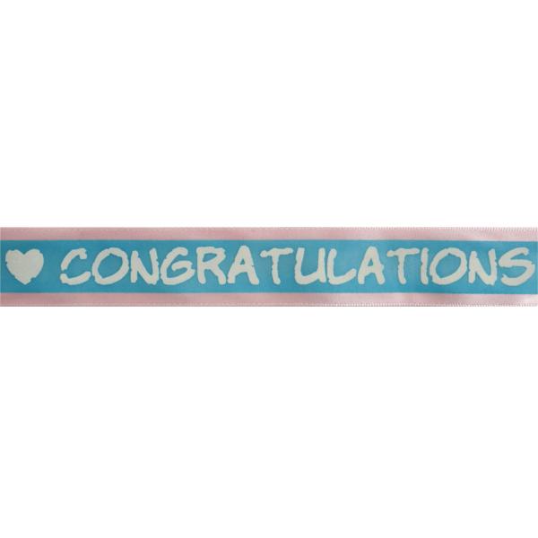25mm x 3m Congratulations Stripe Ribbon Multi Colour Celebration