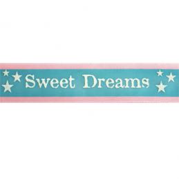 25mm x 3m Sweet Dreams Stripe Baby Pink, Blue & White Ribbon Celebration