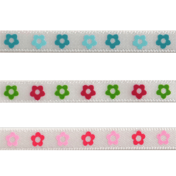 6mm x 4m Two-Tone Flower Print Ribbon Multi Colour Celebration