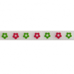 6mm x 4m Two-Tone Flower Print Ribbon Multi Colour Celebration