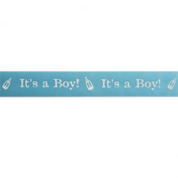 25mm x 3m Its A Boy Satin Ribbon Multi Colour Celebration