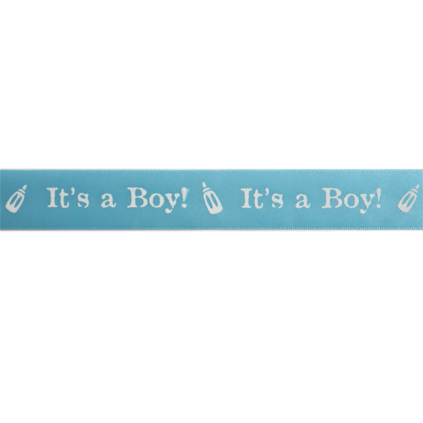 25mm x 3m Its A Boy Satin Ribbon Multi Colour Celebration