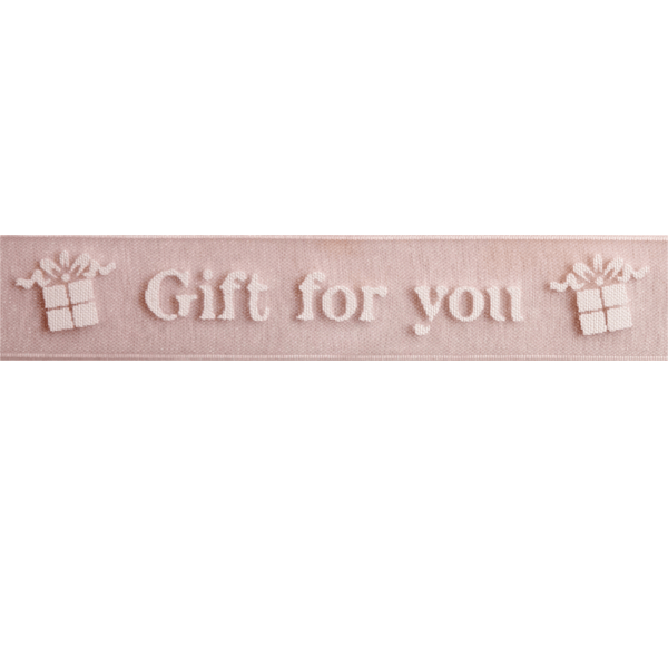 15mm x 3.5m Gift For You White On Baby Pink Ribbon Celebration