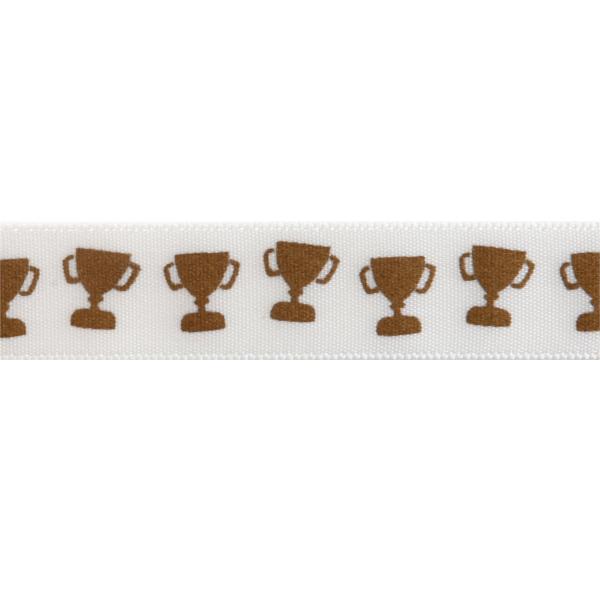 15mm x 3.5m Satin Trophy Cup Gold On White Ribbon Celebration