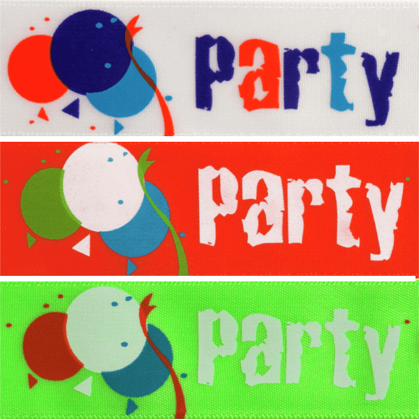 25mm x 3m Party With Balloons Ribbon Multi Colour Celebration