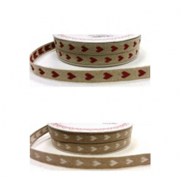1 Metre 11mm White/Red Woven Heart Linen Ribbon Craft Ribbon Bertie's Bows