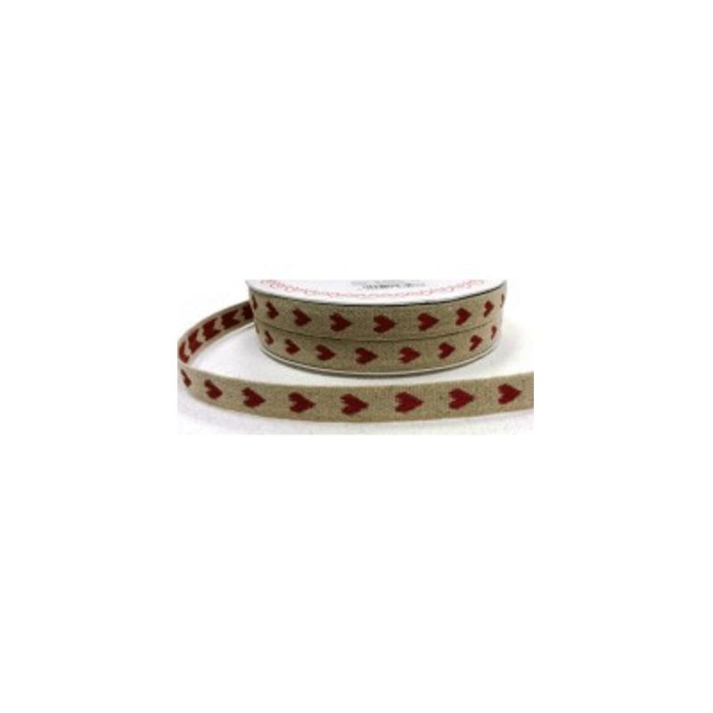 1 Metre 11mm White/Red Woven Heart Linen Ribbon Craft Ribbon Bertie's Bows