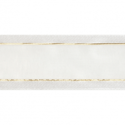 Satin Edge White With Metallic Gold Stripe Organza Split Craft Celebrate Ribbon