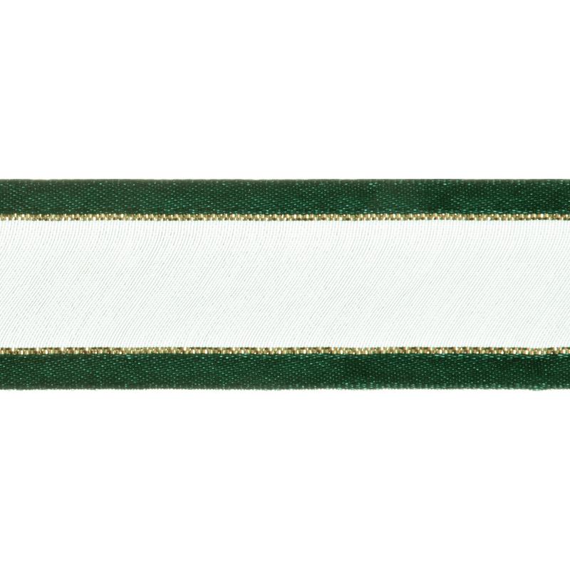 Satin Edge Green With Metallic Gold Stripe Organza Split Craft Celebrate Ribbon