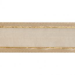 Satin Edge Cream With Metallic Gold Stripe Organza Split Craft Celebrate Ribbon