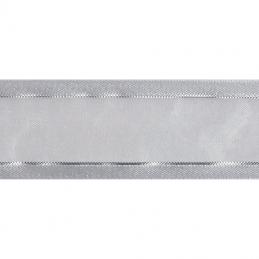 12mm x 5m Satin Edge White Metallic Silver Stripe Organza Craft Celebrate Ribbon