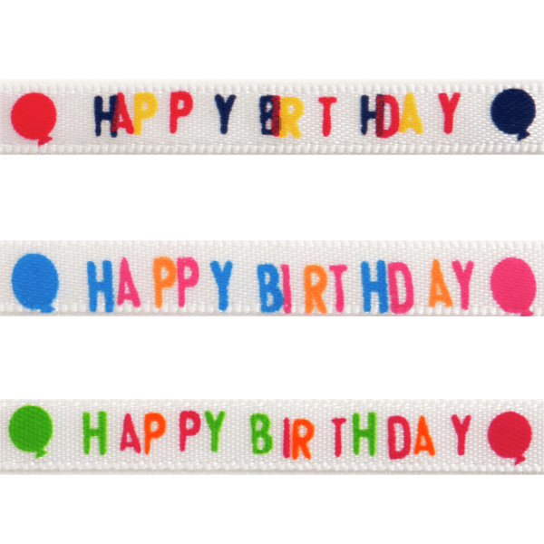 6mm x 4.5m Happy Birthday Balloons Polyester Ribbon Multi Colour Celebration