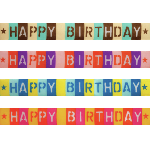 15mm x 3.5m Happy Birthday Squares Polyester Ribbon Multi Colour Celebration