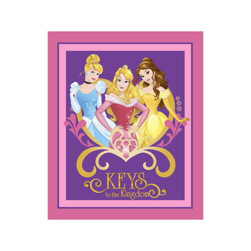 Disney Princess Keys To The Kingdom Panel Cinderella Belle 100% Cotton Fabric