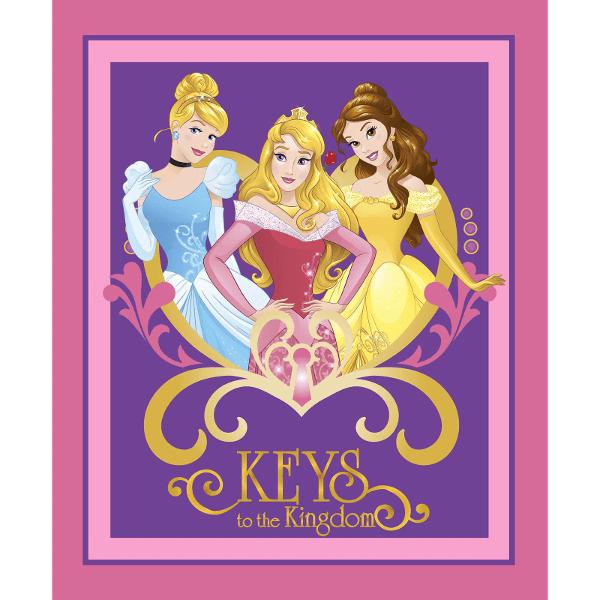Disney Princess Keys To The Kingdom Panel Cinderella Belle 100% Cotton Fabric