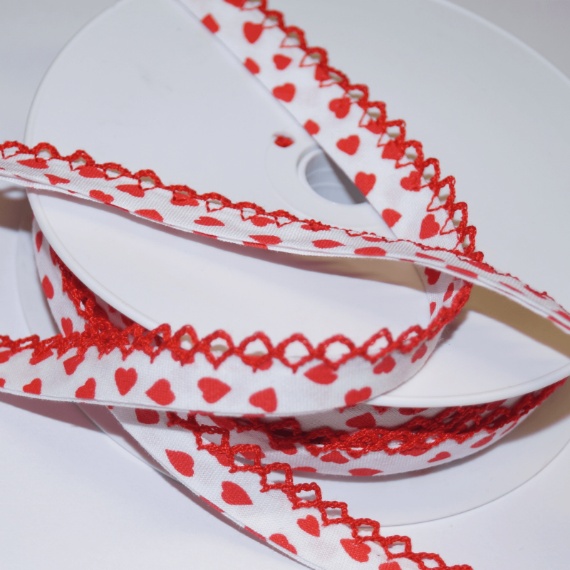 Red 14mm Floating Hearts Frilled Edge Lingerie Style Bias Binding