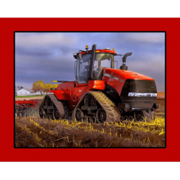 Case Big Red Tractor Panel 100% Cotton Fabric
