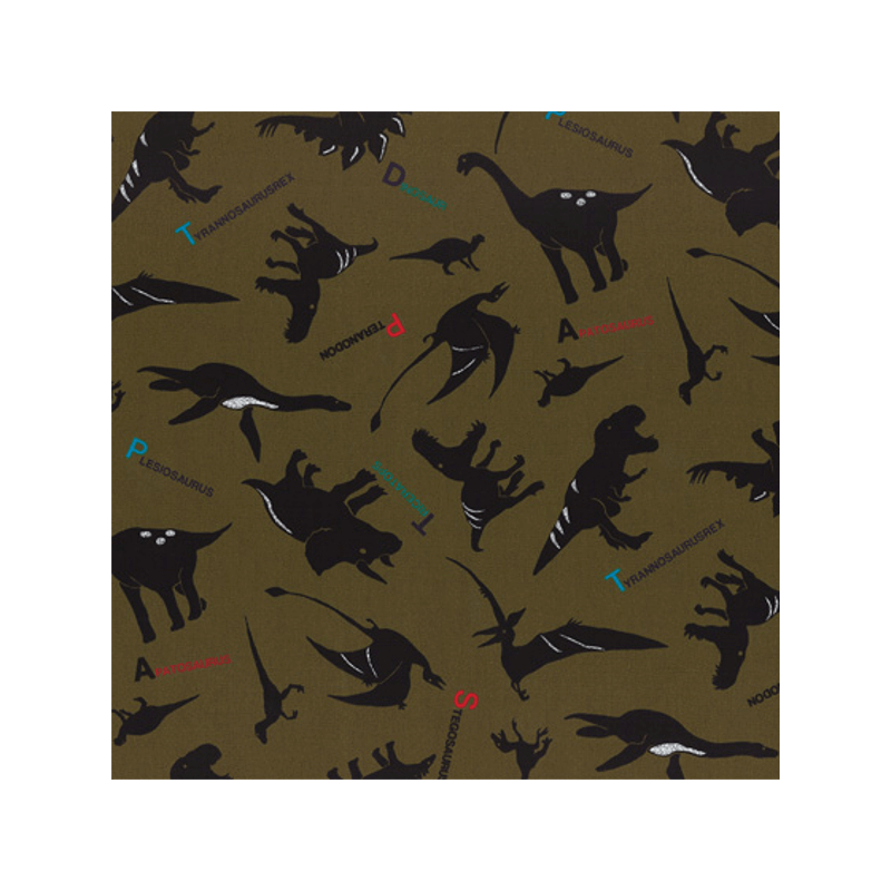 Olive Green Dinosaurs Tossed With Names
