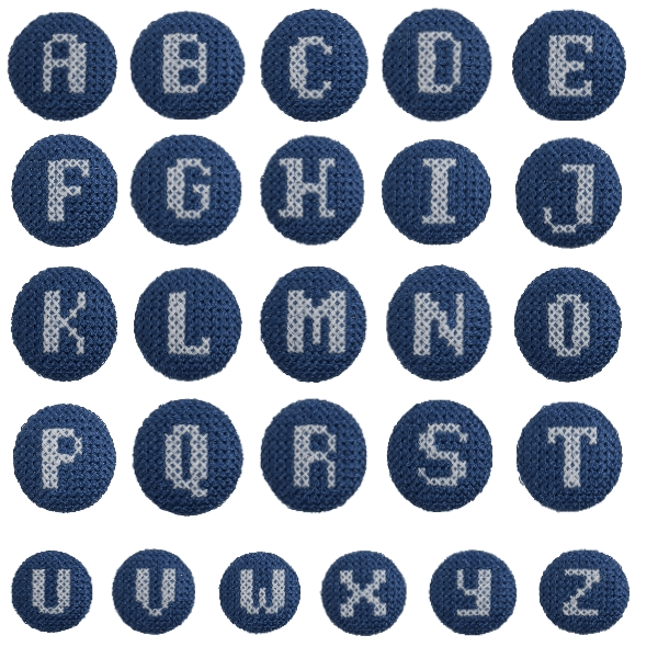 2 x Alphabet Cross Stitch 40 Lignes 25mm Craft Buttons