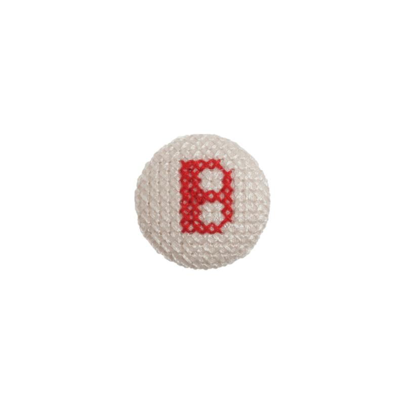 1 x Alphabet Cross Stitch Red on White 40 Lignes 25mm Craft Buttons