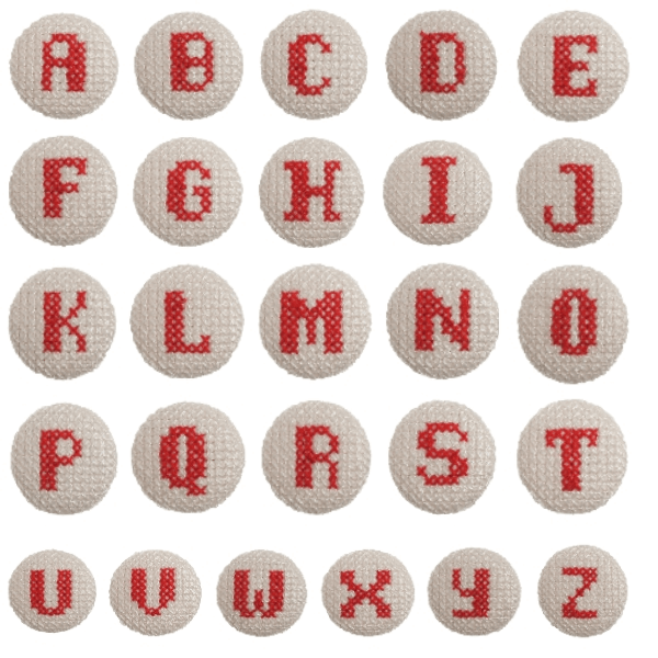 1 x Alphabet Cross Stitch Red on White 40 Lignes 25mm Craft Buttons