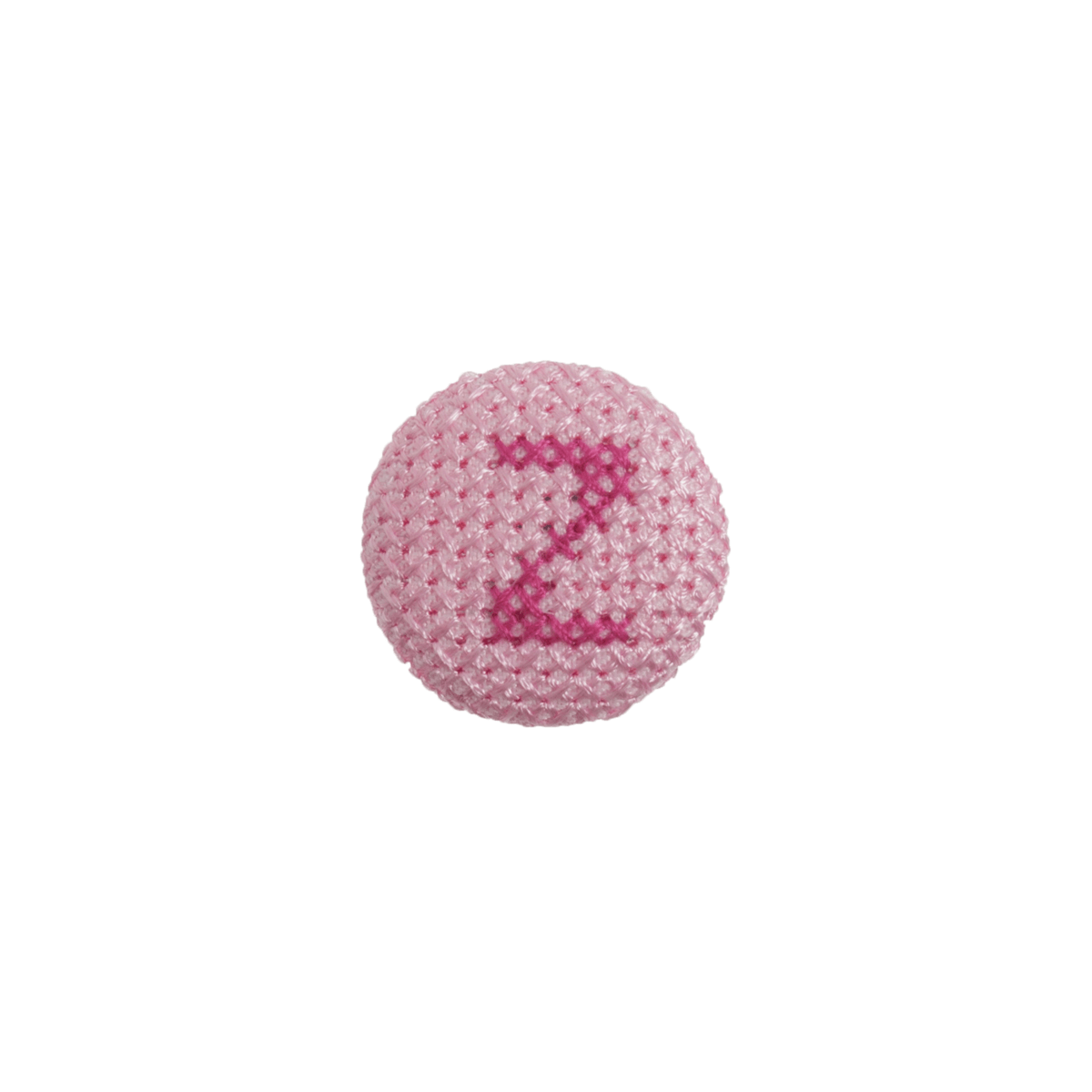 1 x Alphabet Cross Stitch Fuchsia On Pink 40 Lignes 25mm Craft Buttons