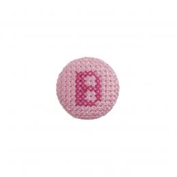 1 x Alphabet Cross Stitch Fuchsia On Pink 40 Lignes 25mm Craft Buttons