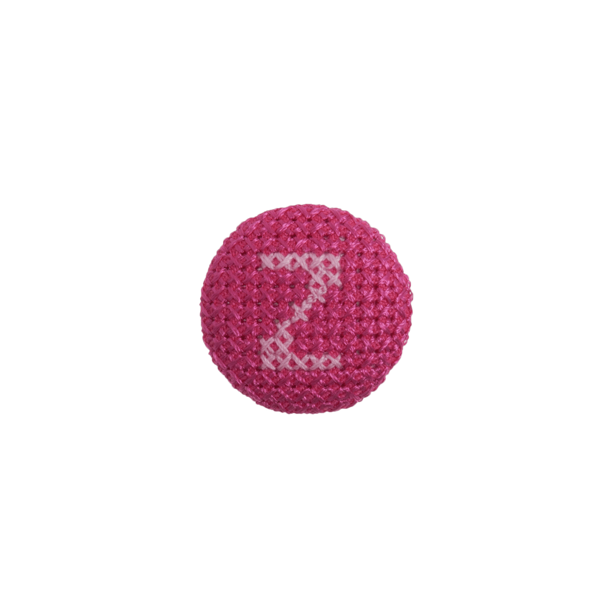1 x Alphabet Cross Stitch Pink On Fuchsia 40 Lignes 25mm Craft Buttons